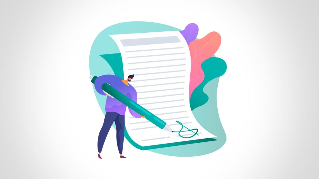 imagem para ilustrar artigo de pkhub sobre legal design com duas pessoas assinando um contrato